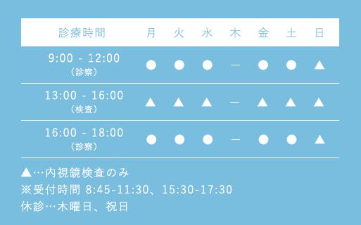 【診療時間】休診…月、木曜日、祝日